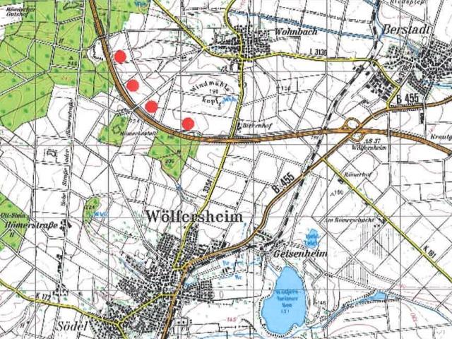 Vier geplante Windkraftanlagen bei Wohnbach